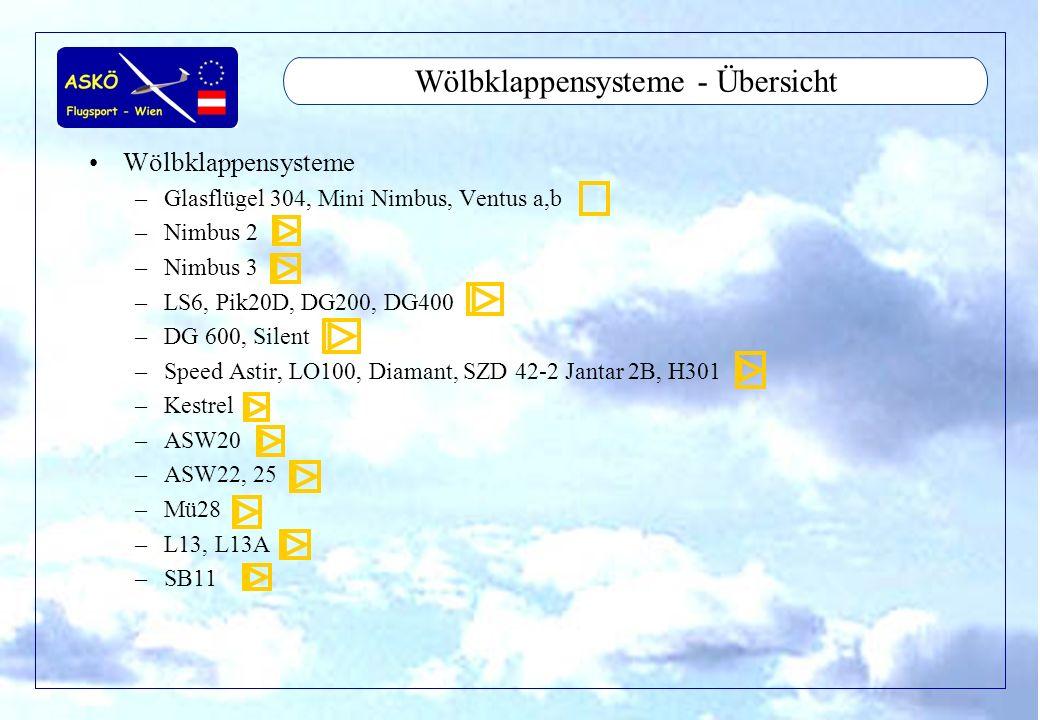 11/2001by Andreas Winkler2 Wölbklappensysteme - Übersicht Wölbklappensysteme –Glasflügel 304, Mini Nimbus, Ventus a,b –Nimbus 2 –Nimbus 3 –LS6, Pik20D