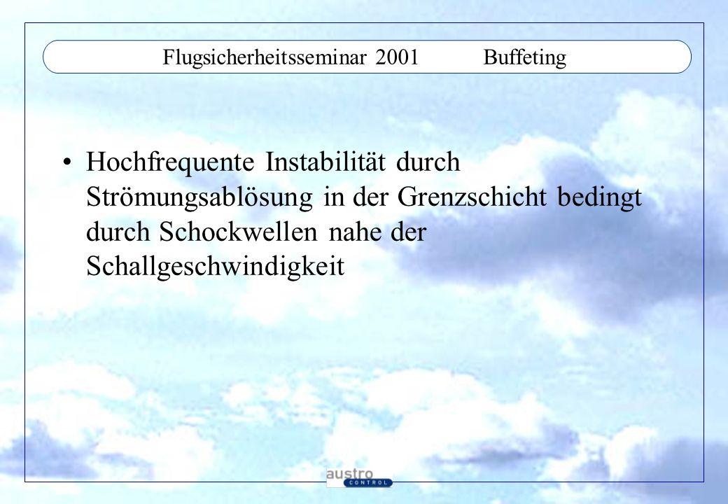Flugsicherheitsseminar 2001Buffeting Hochfrequente Instabilität durch Strömungsablösung in der Grenzschicht bedingt durch Schockwellen nahe der Schall