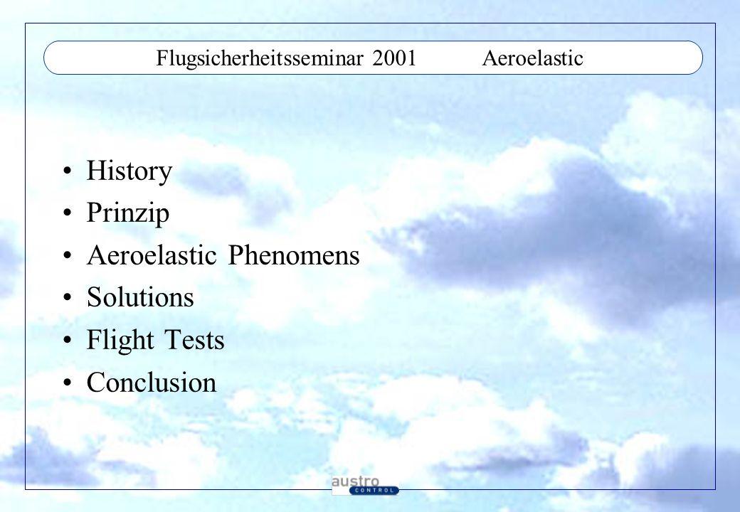 Flugsicherheitsseminar 2001Conclusions Festigkeit ist im Leichtbau mit modernen Materialien ein geringeres Problem als die Steifigkeit Komplexe Analysen erforderlich Hohes Flight Test Risiko