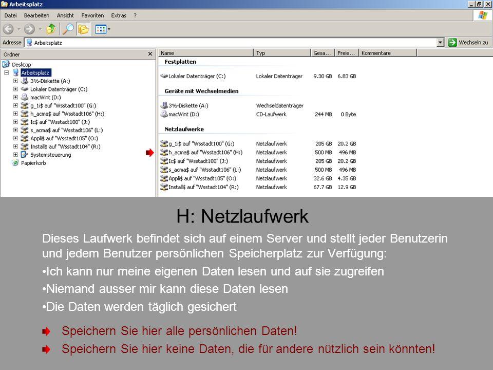 H: Netzlaufwerk Dieses Laufwerk befindet sich auf einem Server und stellt jeder Benutzerin und jedem Benutzer persönlichen Speicherplatz zur Verfügung