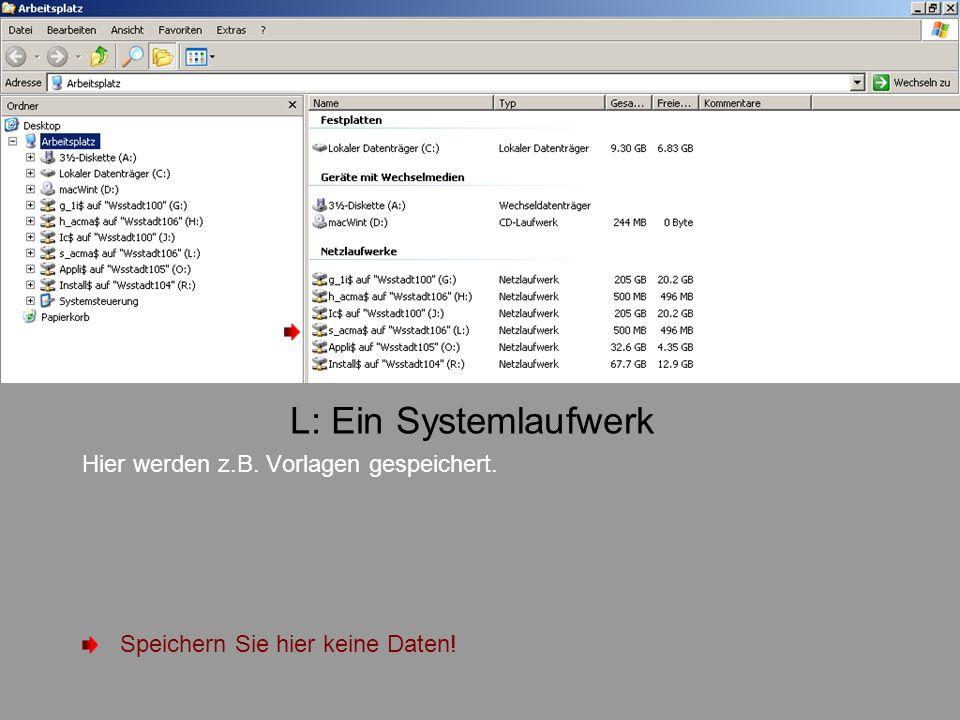 L: Ein Systemlaufwerk Hier werden z.B. Vorlagen gespeichert. Speichern Sie hier keine Daten!