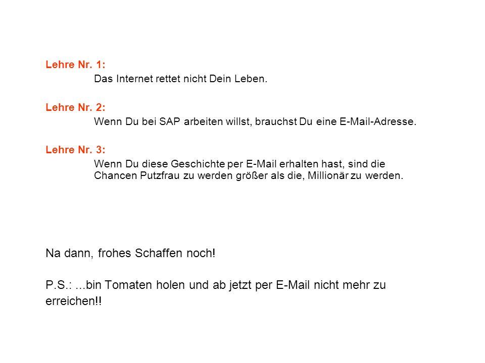 Lehre Nr. 1: Das Internet rettet nicht Dein Leben. Lehre Nr. 2: Wenn Du bei SAP arbeiten willst, brauchst Du eine E-Mail-Adresse. Lehre Nr. 3: Wenn Du