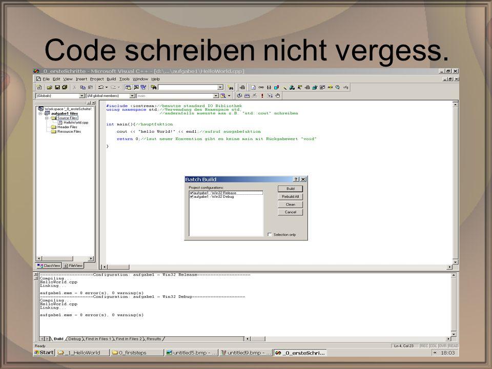 Rep. PG1 – Kap. 0: Erste SchritteDipl. Inf. (FH) Michael Krauß12/22 Code schreiben nicht vergess.