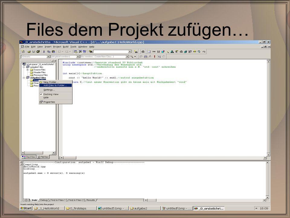 Rep. PG1 – Kap. 0: Erste SchritteDipl. Inf. (FH) Michael Krauß19/22 Files dem Projekt zufügen…
