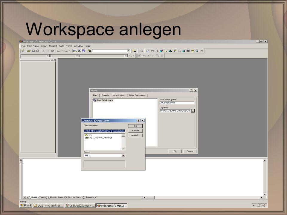 Rep. PG1 – Kap. 0: Erste SchritteDipl. Inf. (FH) Michael Krauß5/22 Workspace anlegen