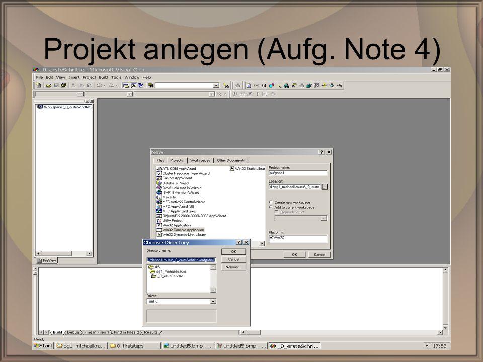 Rep. PG1 – Kap. 0: Erste SchritteDipl. Inf. (FH) Michael Krauß7/22 Projekt anlegen (Aufg. Note 4)
