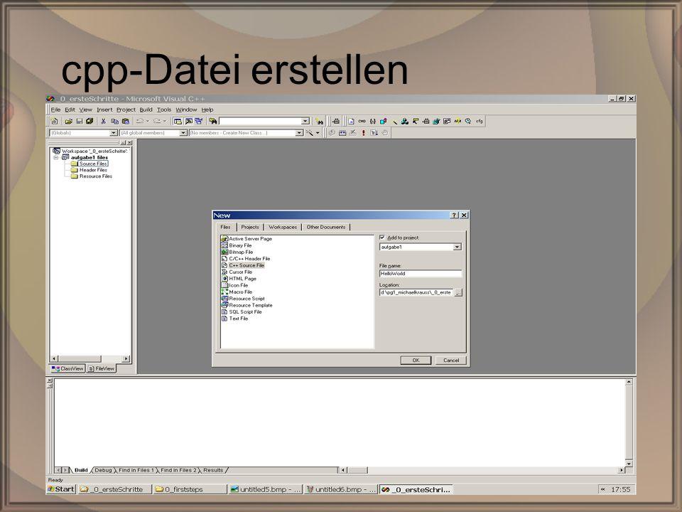Rep. PG1 – Kap. 0: Erste SchritteDipl. Inf. (FH) Michael Krauß9/22 cpp-Datei erstellen