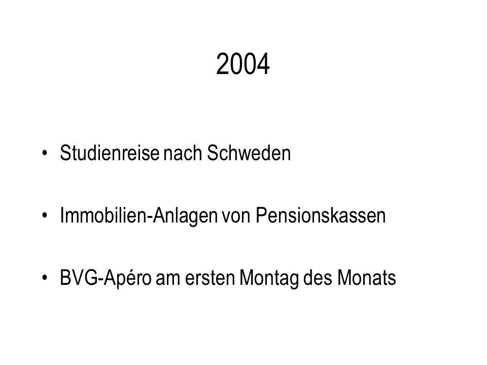 2004 Studienreise nach Schweden Immobilien-Anlagen von Pensionskassen BVG-Apéro am ersten Montag des Monats