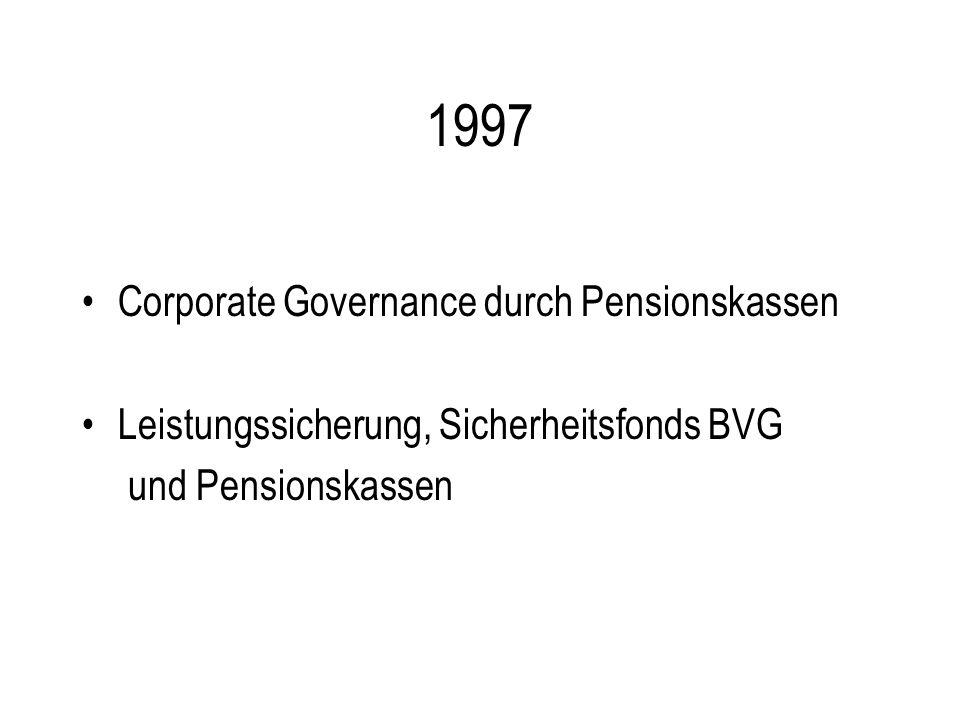 1997 Corporate Governance durch Pensionskassen Leistungssicherung, Sicherheitsfonds BVG und Pensionskassen