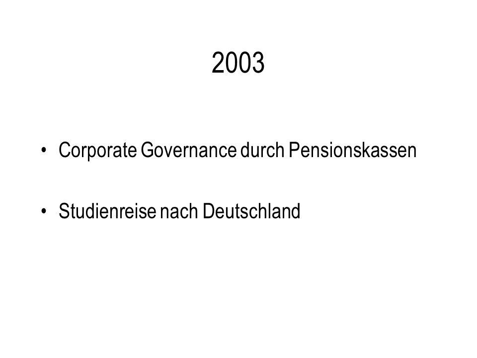 2003 Corporate Governance durch Pensionskassen Studienreise nach Deutschland