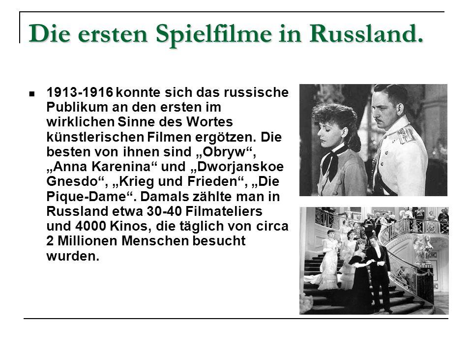 Die ersten Spielfilme in Deutschland.In Deutschland wurde das erste Lichtspielhaus am 1.