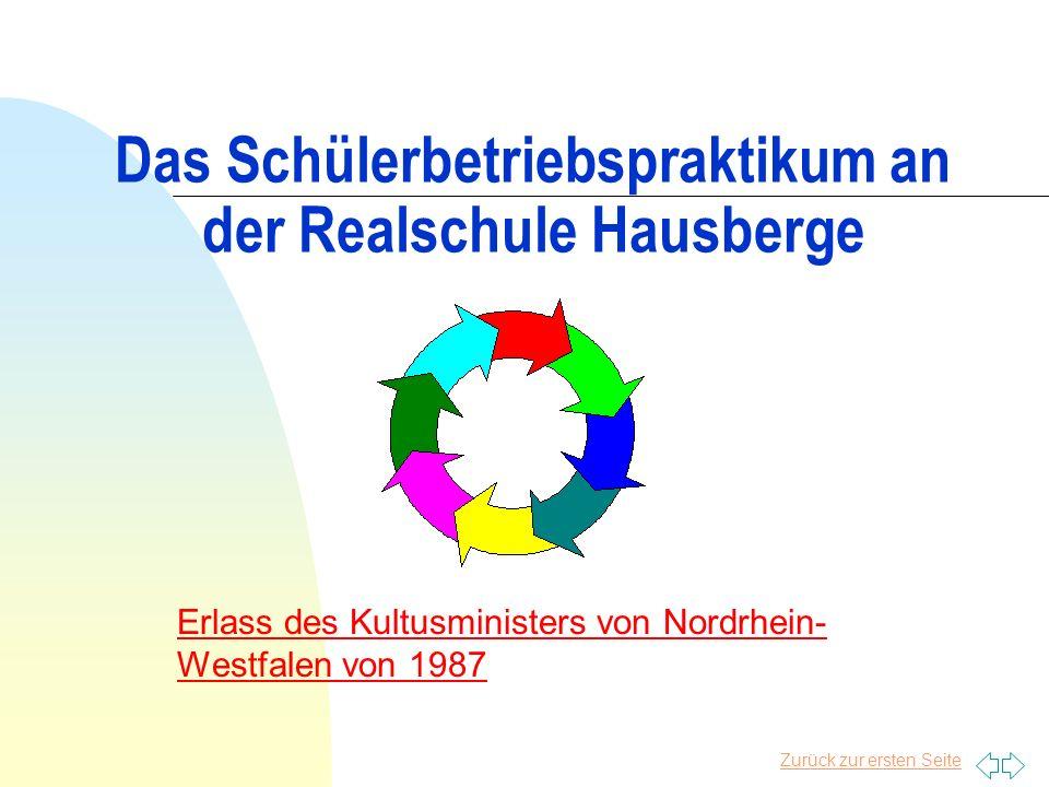 Das Schülerbetriebspraktikum an der Realschule Hausberge Erlass des Kultusministers von Nordrhein- Westfalen von 1987