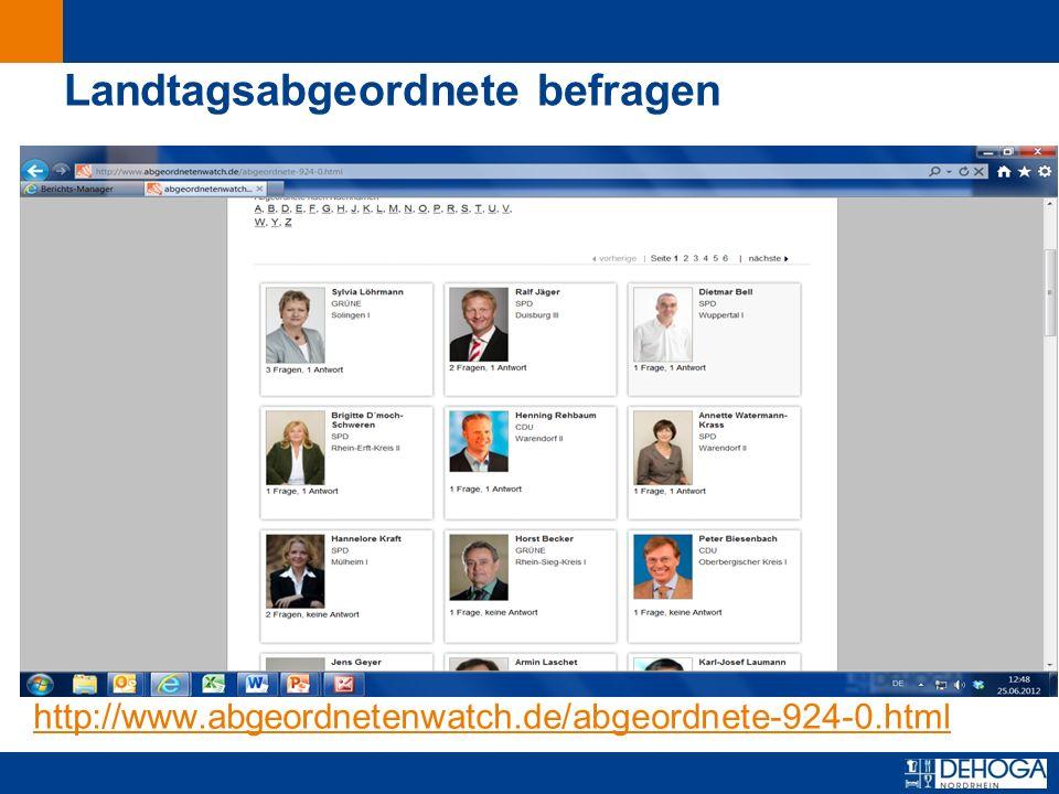 Zurück zur ersten Seite Landtagsabgeordnete befragen http://www.abgeordnetenwatch.de/abgeordnete-924-0.html