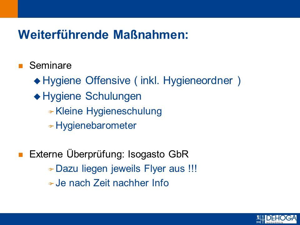 Zurück zur ersten Seite Weiterführende Maßnahmen: n Seminare u Hygiene Offensive ( inkl.