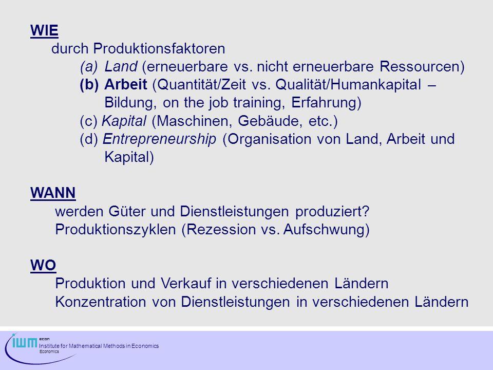 Institute for Mathematical Methods in Economics Economics WIE durch Produktionsfaktoren (a)Land (erneuerbare vs. nicht erneuerbare Ressourcen) (b)Arbe