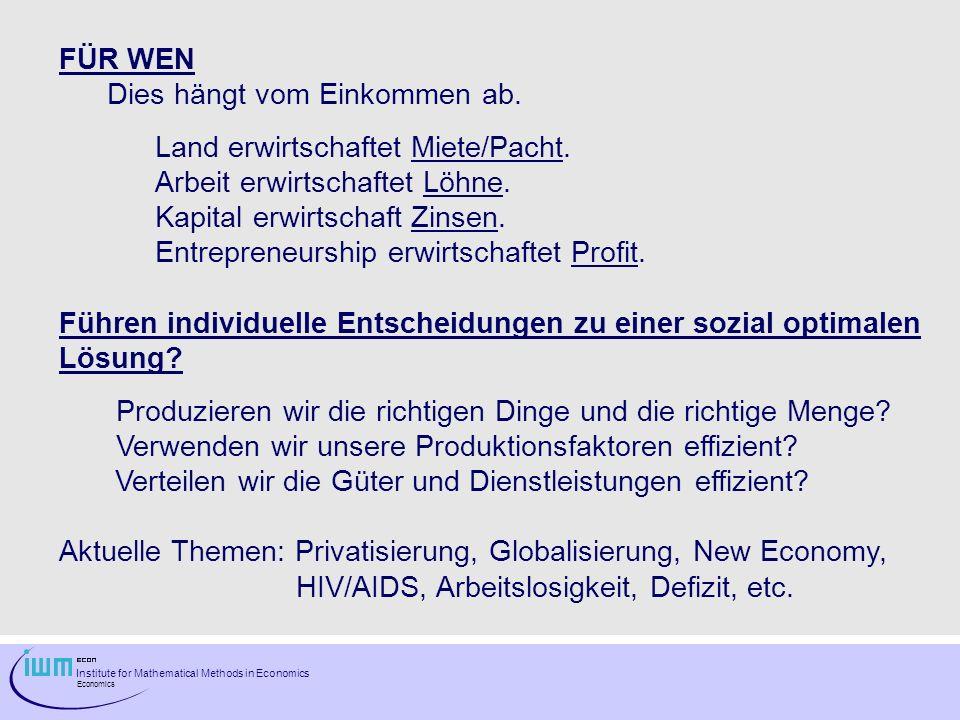 Institute for Mathematical Methods in Economics Economics FÜR WEN Dies hängt vom Einkommen ab. Land erwirtschaftet Miete/Pacht. Arbeit erwirtschaftet