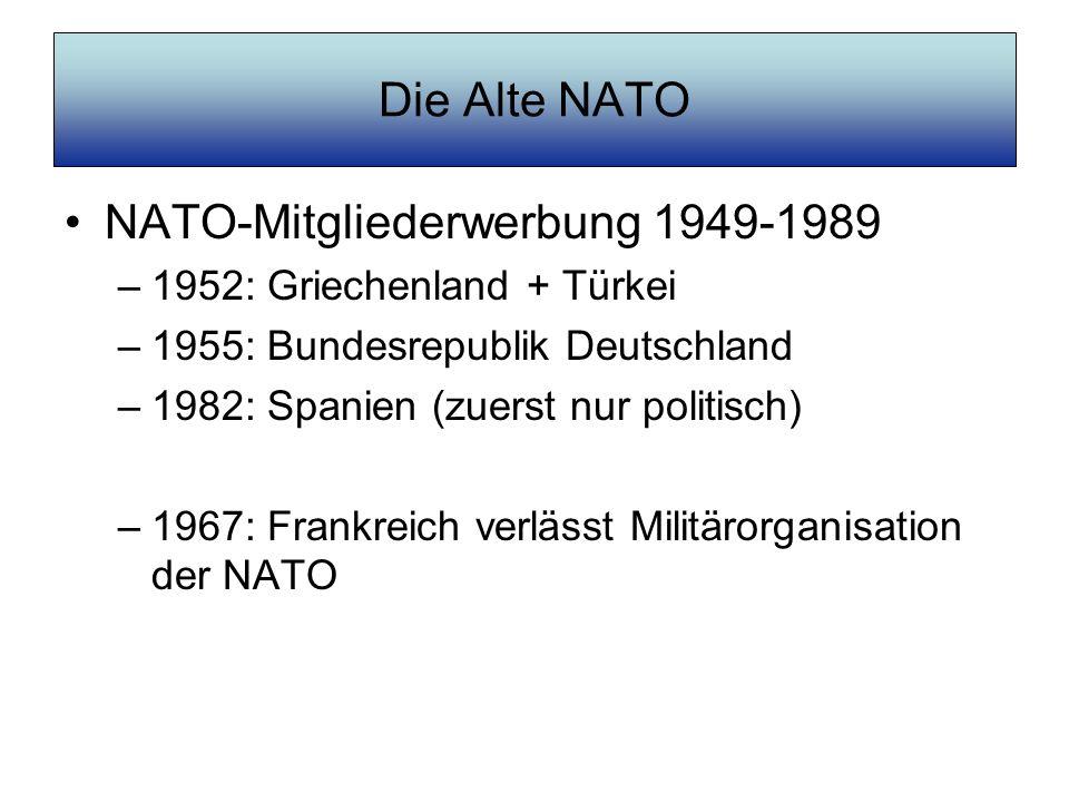 Die Alte NATO NATO-Mitgliederwerbung 1949-1989 –1952: Griechenland + Türkei –1955: Bundesrepublik Deutschland –1982: Spanien (zuerst nur politisch) –1