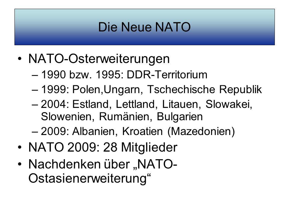 Die Neue NATO NATO-Osterweiterungen –1990 bzw. 1995: DDR-Territorium –1999: Polen,Ungarn, Tschechische Republik –2004: Estland, Lettland, Litauen, Slo