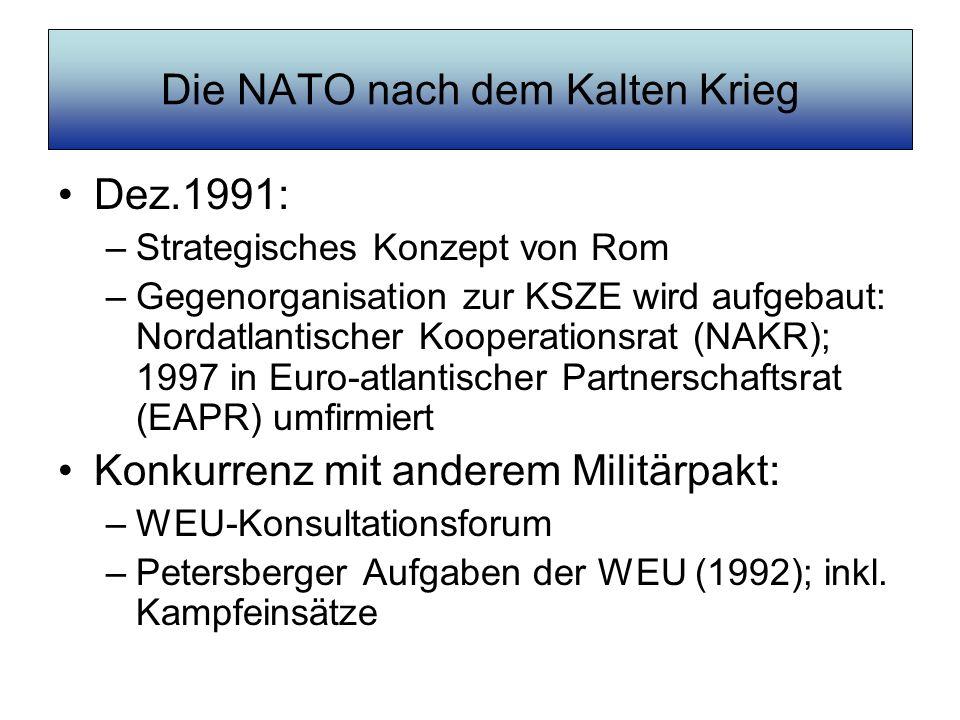 Die NATO nach dem Kalten Krieg Dez.1991: –Strategisches Konzept von Rom –Gegenorganisation zur KSZE wird aufgebaut: Nordatlantischer Kooperationsrat (