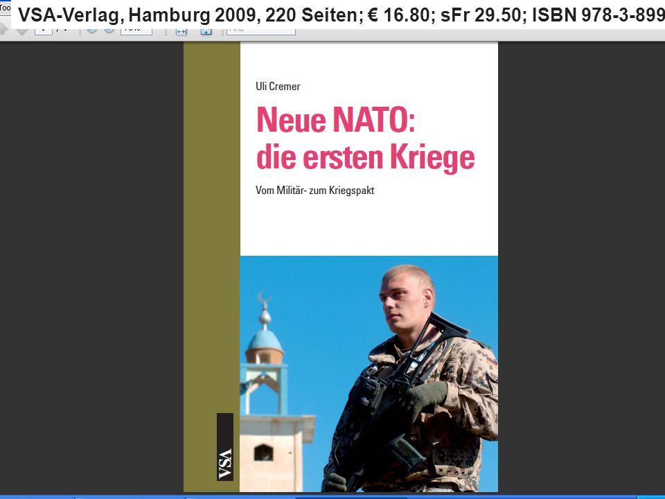 Out of area or out of business Ursprüngliches Einsatzgebiet: NATO- Raum Erste Out-of-area-Einsätze auf dem Balkan 1999: euro-atlantischer Raum (Strategie von Washington) 2002: Einsatz von Truppen, wo immer sie gebraucht werden = global http://www.nato.diplo.de/Vertretung/nato/de/06/Erklaer__Verteidigungs__Aussenminister/ALT__ Schlusskommunique/2002__05__AM__DownlDat,property=Daten.pdf
