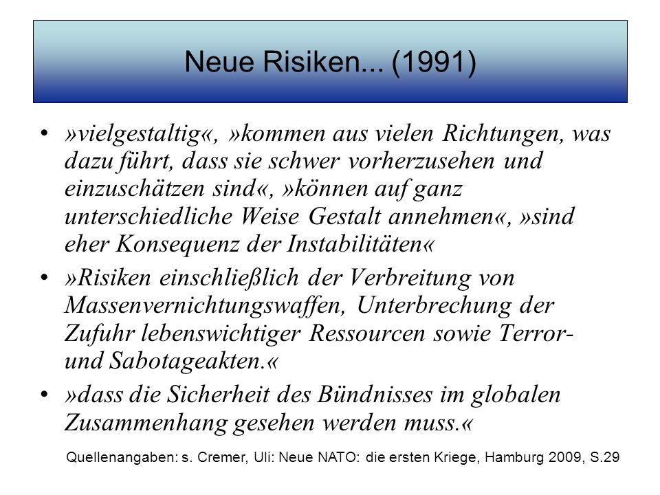 Neue Risiken... (1991) »vielgestaltig«, »kommen aus vielen Richtungen, was dazu führt, dass sie schwer vorherzusehen und einzuschätzen sind«, »können