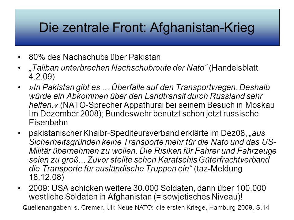 Die zentrale Front: Afghanistan-Krieg 80% des Nachschubs über Pakistan Taliban unterbrechen Nachschubroute der Nato (Handelsblatt 4.2.09) »In Pakistan