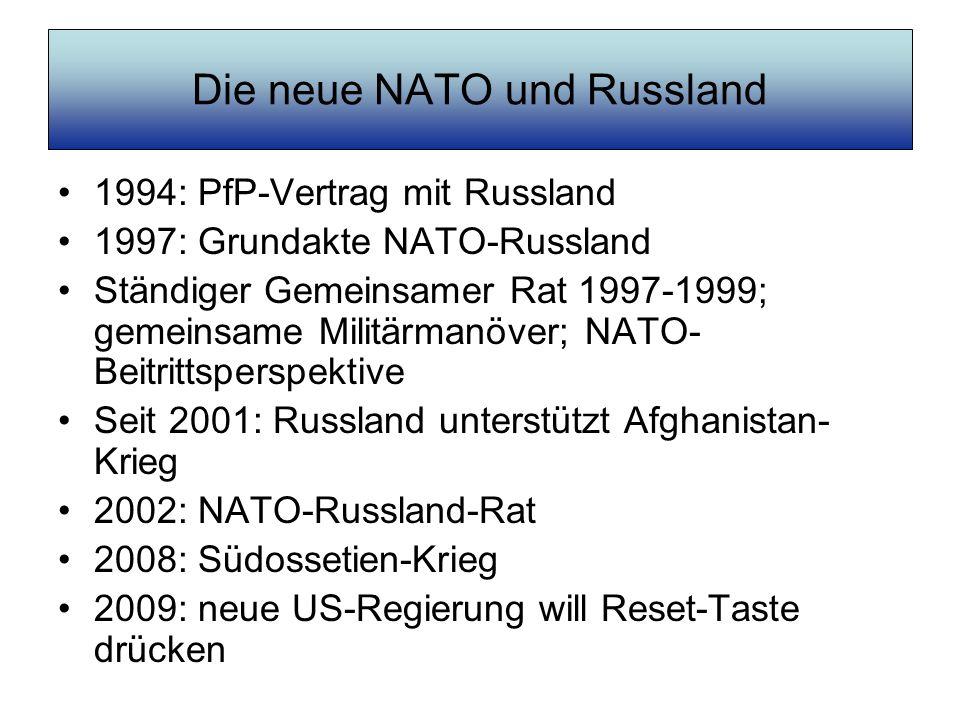 Die neue NATO und Russland 1994: PfP-Vertrag mit Russland 1997: Grundakte NATO-Russland Ständiger Gemeinsamer Rat 1997-1999; gemeinsame Militärmanöver