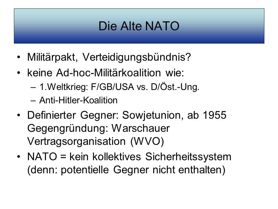 Die Alte NATO Militärpakt, Verteidigungsbündnis? keine Ad-hoc-Militärkoalition wie: –1.Weltkrieg: F/GB/USA vs. D/Öst.-Ung. –Anti-Hitler-Koalition Defi