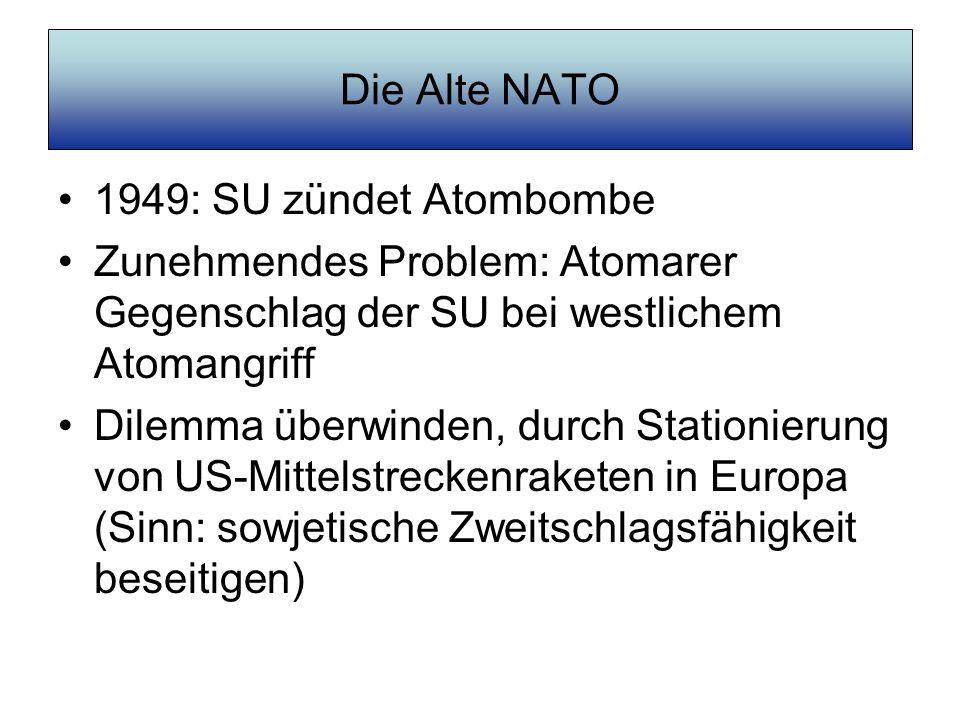 Die Alte NATO 1949: SU zündet Atombombe Zunehmendes Problem: Atomarer Gegenschlag der SU bei westlichem Atomangriff Dilemma überwinden, durch Stationi
