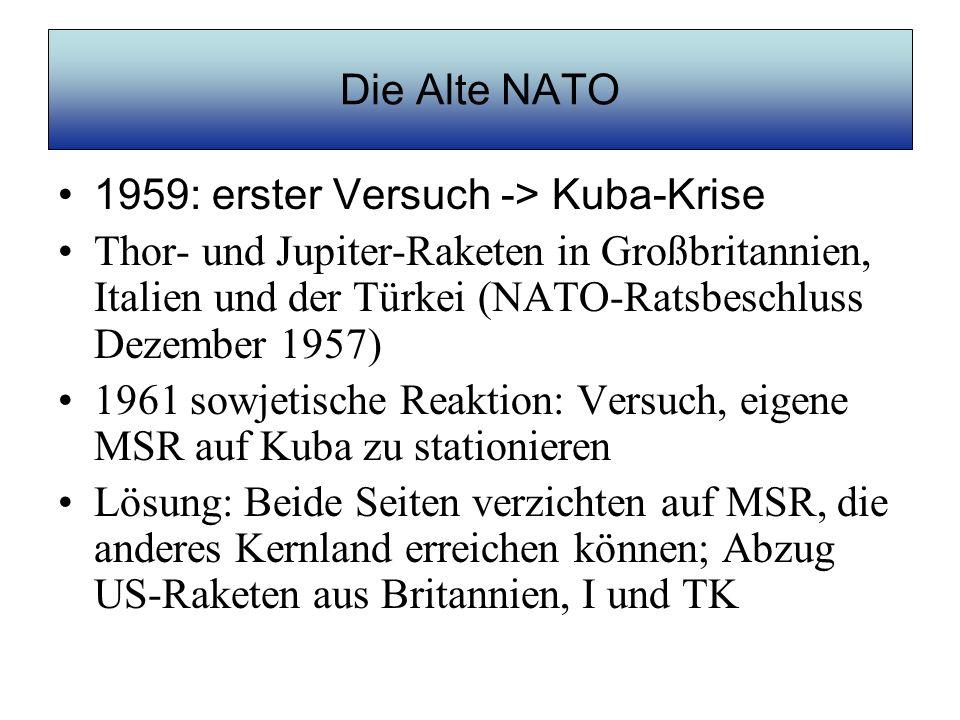 Die Alte NATO 1979: zweiter Versuch -> NATO- Doppelbeschluss (Aufrüsten + Verhandeln) –Man kommt weiter mit einem netten Wort und einer Kanone als nur mit einem netten Wort (Al Capone) Propaganda-Begründung: Nachrüstung wegen SS-20-Raketen der SU Ab 1983 Stationierung von Pershing II und Cruise Missiles Diesmal: keine sowjetische Reaktion auf Augenhöhe; nur Kurzstreckenraketen auf westeuropäische Ziele 1987 INF-Abkommen