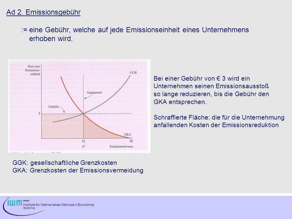 Institute for Mathematical Methods in Economics Economics Ad 2. Emissionsgebühr := eine Gebühr, welche auf jede Emissionseinheit eines Unternehmens er