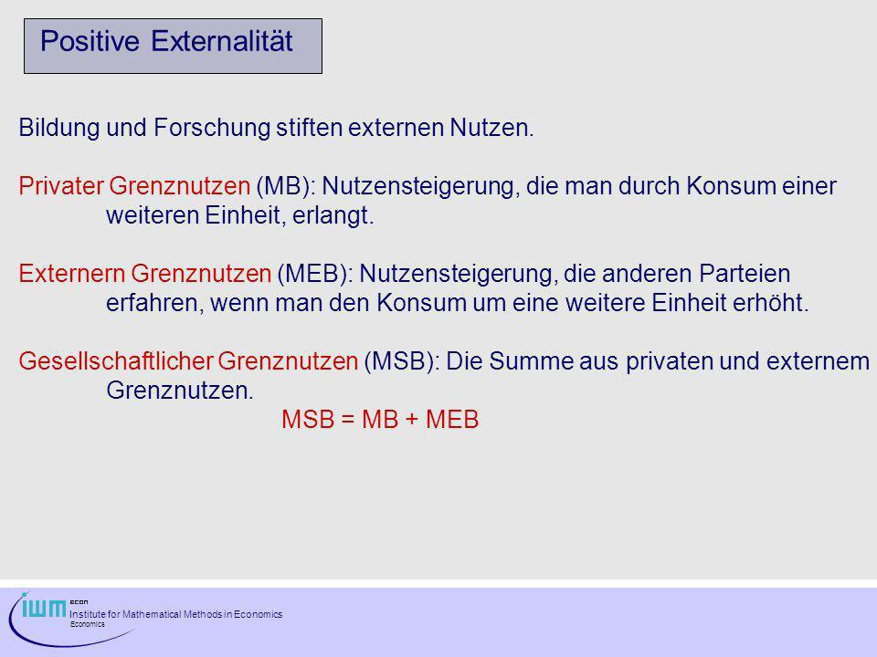 Institute for Mathematical Methods in Economics Economics Positive Externalität Bildung und Forschung stiften externen Nutzen. Privater Grenznutzen (M