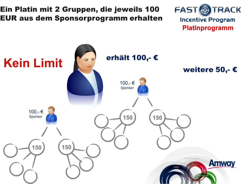 150 150 100,- 100,- Sponsor 150 150 Platinprogramm Ein Platin mit 2 Gruppen, die jeweils 100 EUR aus dem Sponsorprogramm erhalten erhält 100,- Kein Limit weitere 50,-