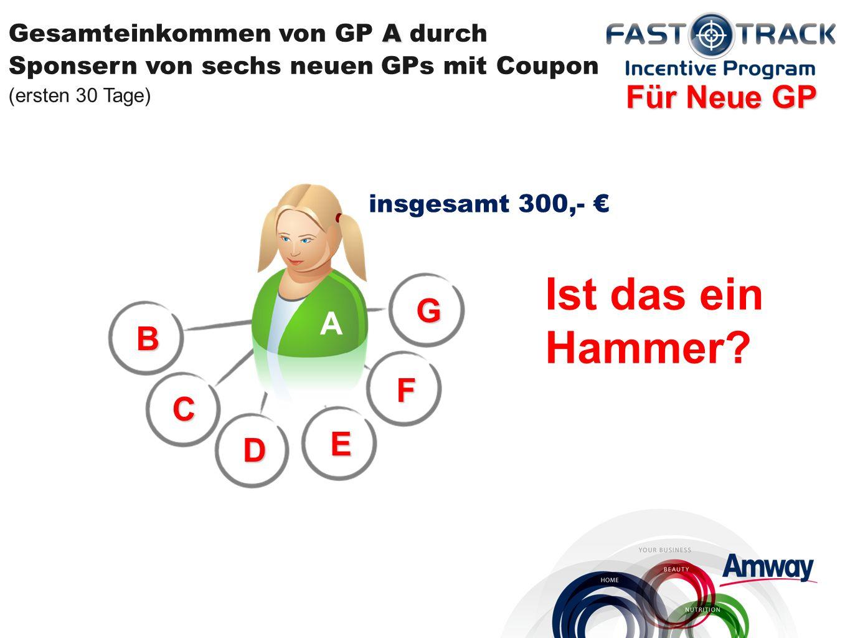 B C D E F G A Gesamteinkommen von GP A durch Sponsern von sechs neuen GPs mit Coupon (ersten 30 Tage) insgesamt 300,- Für Neue GP A Ist das ein Hammer