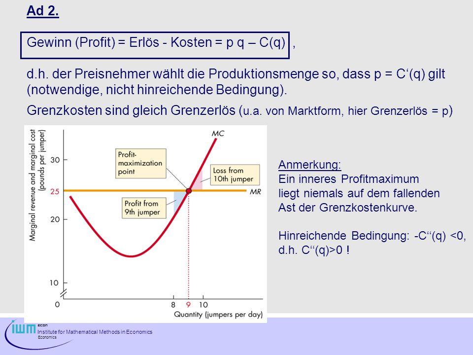 Institute for Mathematical Methods in Economics Economics Ad 2. Gewinn (Profit) = Erlös - Kosten = p q – C(q), d.h. der Preisnehmer wählt die Produkti