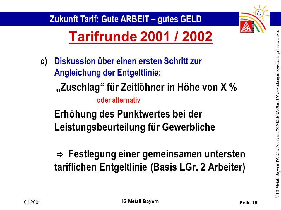 Zukunft Tarif: Gute ARBEIT – gutes GELD © IG Metall Bayern/ TA/RPo/O/Praesent/010426ERA-Start-1/Verwendung mit Quellenangabe erwünscht 04.2001 IG Metall Bayern Folie 16 Tarifrunde 2001 / 2002 c)Diskussion über einen ersten Schritt zur Angleichung der Entgeltlinie: Zuschlag für Zeitlöhner in Höhe von X % oder alternativ Erhöhung des Punktwertes bei der Leistungsbeurteilung für Gewerbliche Festlegung einer gemeinsamen untersten tariflichen Entgeltlinie (Basis LGr.