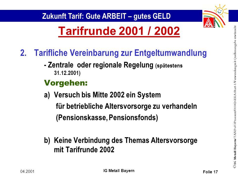 Zukunft Tarif: Gute ARBEIT – gutes GELD © IG Metall Bayern/ TA/RPo/O/Praesent/010426ERA-Start-1/Verwendung mit Quellenangabe erwünscht 04.2001 IG Metall Bayern Folie 17 Tarifrunde 2001 / 2002 2.Tarifliche Vereinbarung zur Entgeltumwandlung - Zentrale oder regionale Regelung (spätestens 31.12.2001) Vorgehen: a)Versuch bis Mitte 2002 ein System für betriebliche Altersvorsorge zu verhandeln (Pensionskasse, Pensionsfonds) b)Keine Verbindung des Themas Altersvorsorge mit Tarifrunde 2002