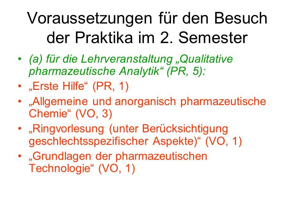 Voraussetzungen für den Besuch der Praktika im 2. Semester (a) für die Lehrveranstaltung Qualitative pharmazeutische Analytik (PR, 5): Erste Hilfe (PR