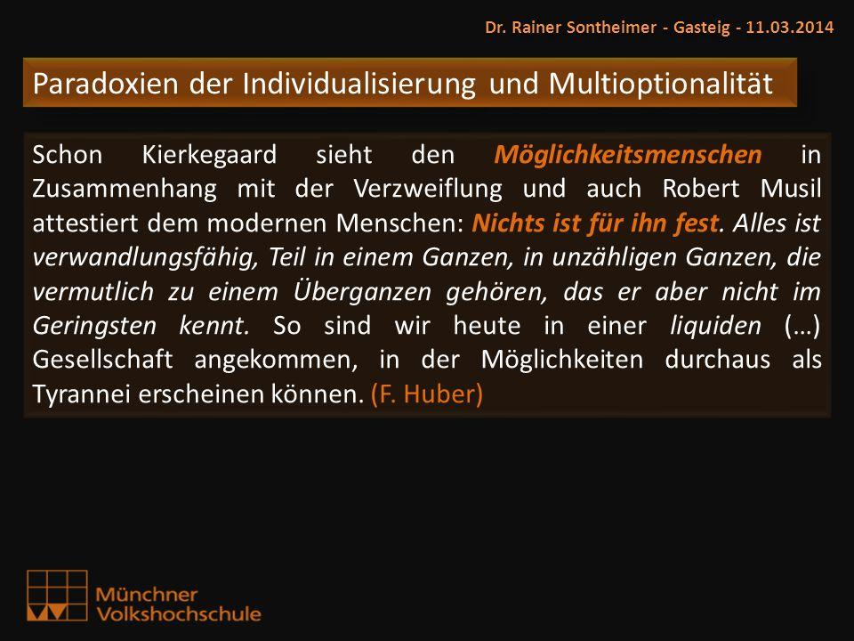 Paradoxien der Individualisierung und Multioptionalität Dr. Rainer Sontheimer - Gasteig - 11.03.2014 Schon Kierkegaard sieht den Möglichkeitsmenschen