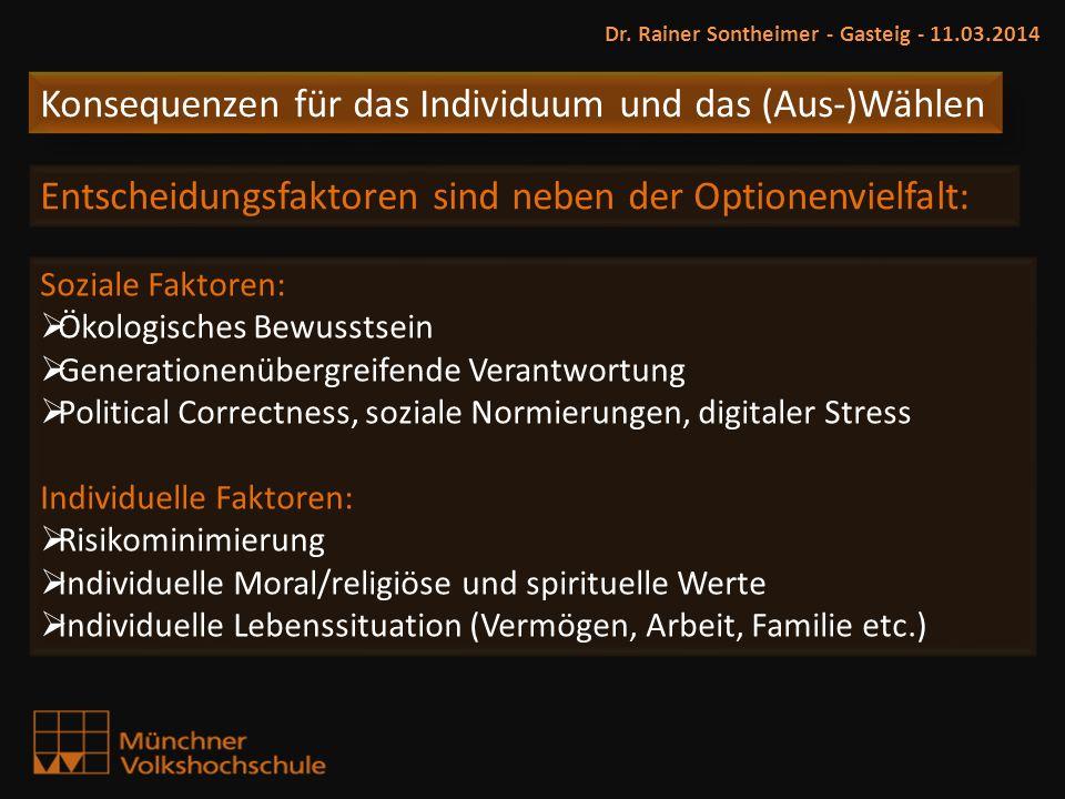 Konsequenzen für das Individuum und das (Aus-)Wählen Dr. Rainer Sontheimer - Gasteig - 11.03.2014 Entscheidungsfaktoren sind neben der Optionenvielfal