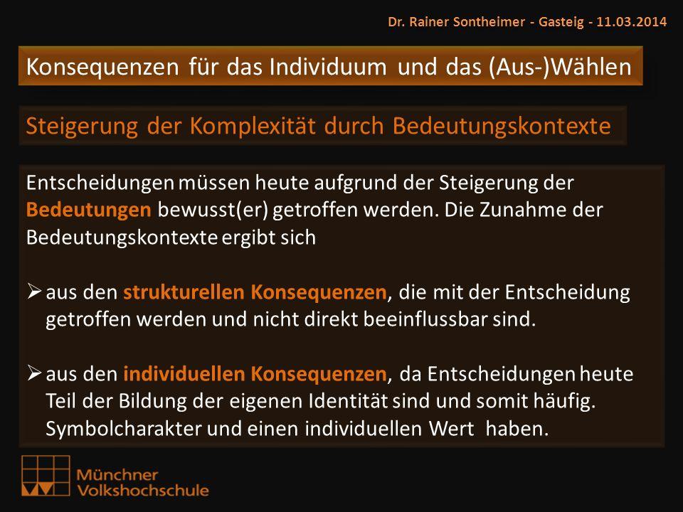 Konsequenzen für das Individuum und das (Aus-)Wählen Dr. Rainer Sontheimer - Gasteig - 11.03.2014 Steigerung der Komplexität durch Bedeutungskontexte