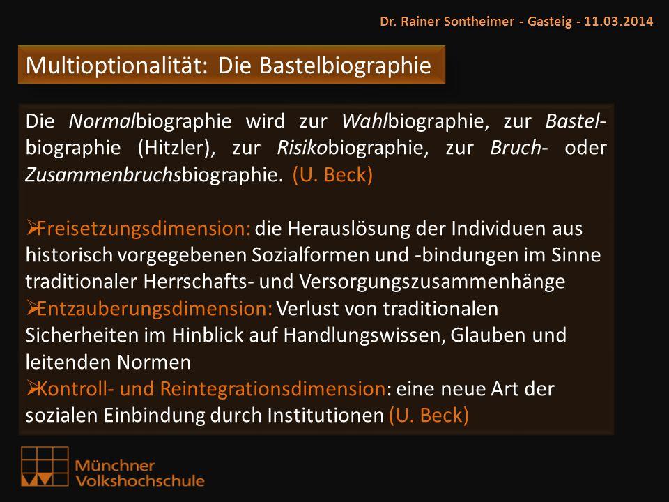 Multioptionalität: Die Bastelbiographie Dr. Rainer Sontheimer - Gasteig - 11.03.2014 Die Normalbiographie wird zur Wahlbiographie, zur Bastel- biograp