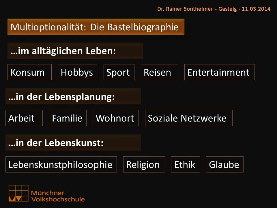 Dr. Rainer Sontheimer - Gasteig - 11.03.2014 KonsumHobbys ArbeitFamilie ReligionLebenskunstphilosophie …im alltäglichen Leben: Sport …in der Lebenskun