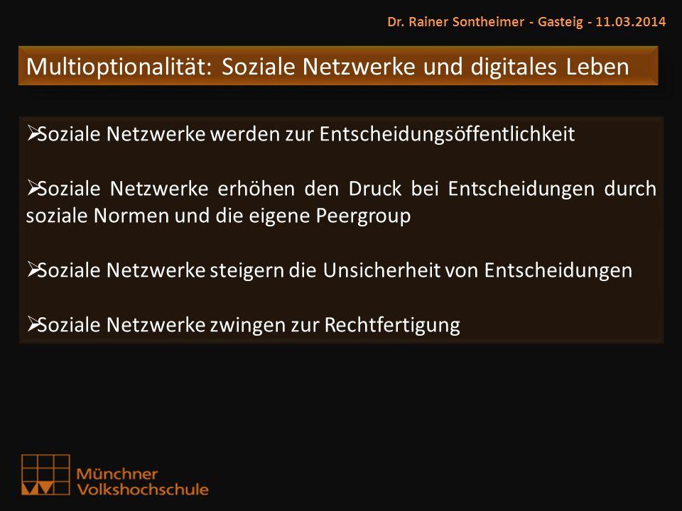 Multioptionalität: Soziale Netzwerke und digitales Leben Dr. Rainer Sontheimer - Gasteig - 11.03.2014 Soziale Netzwerke werden zur Entscheidungsöffent