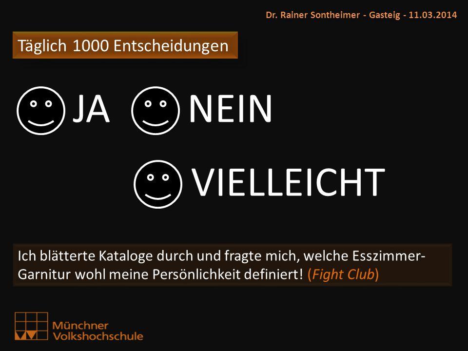 Täglich 1000 Entscheidungen Dr. Rainer Sontheimer - Gasteig - 11.03.2014 Ich blätterte Kataloge durch und fragte mich, welche Esszimmer- Garnitur wohl