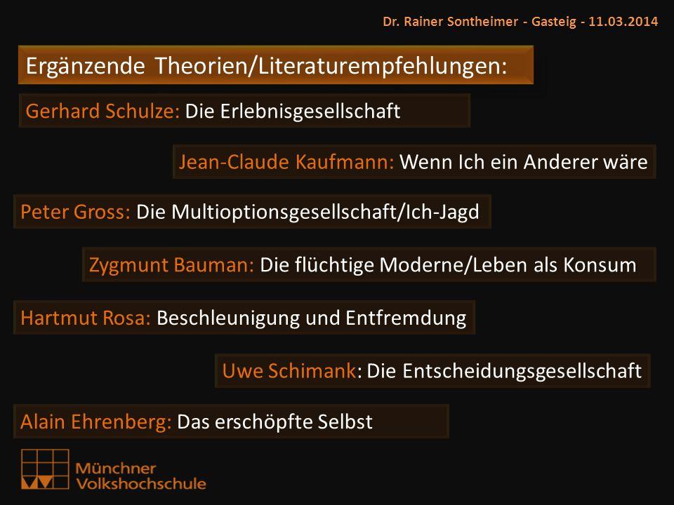 Ergänzende Theorien/Literaturempfehlungen: Dr. Rainer Sontheimer - Gasteig - 11.03.2014 Peter Gross: Die Multioptionsgesellschaft/Ich-Jagd Zygmunt Bau