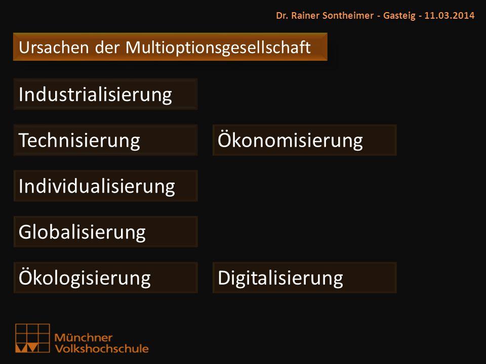Ursachen der Multioptionsgesellschaft Dr. Rainer Sontheimer - Gasteig - 11.03.2014 Industrialisierung Technisierung Ökonomisierung Globalisierung Indi