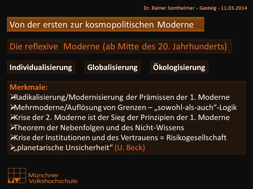 Dr. Rainer Sontheimer - Gasteig - 11.03.2014 Individualisierung Globalisierung Ökologisierung Von der ersten zur kosmopolitischen Moderne Die reflexiv
