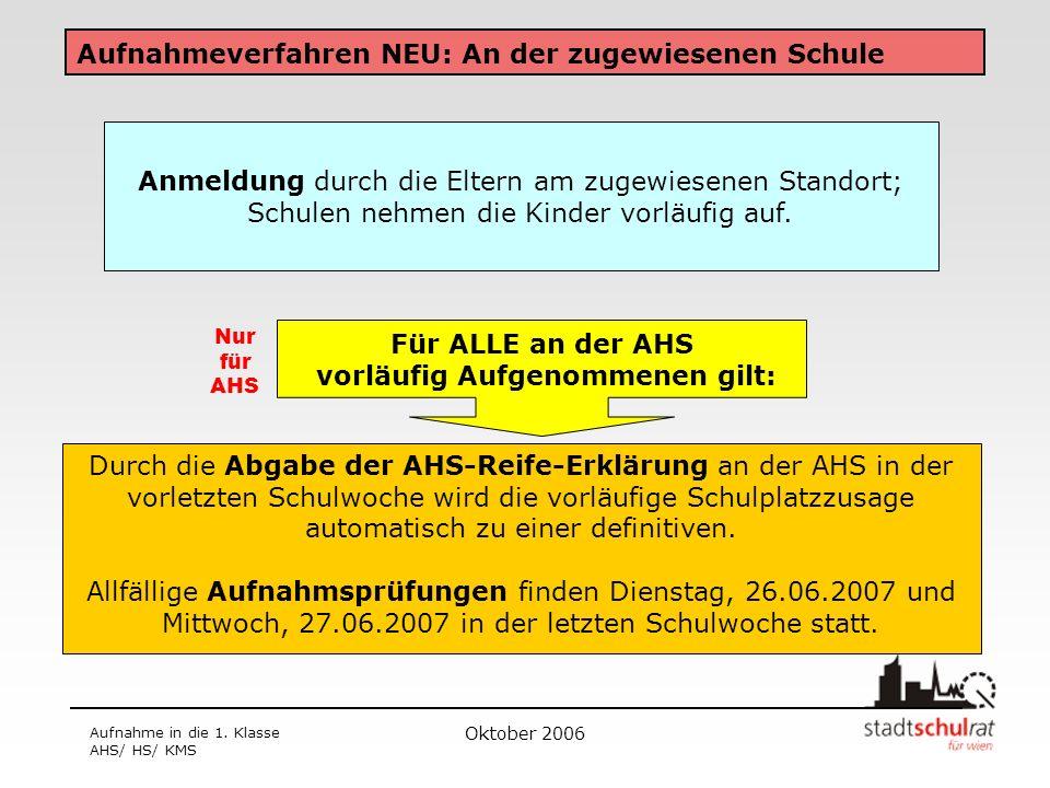 Oktober 2006 Aufnahme in die 1. Klasse AHS/ HS/ KMS Aufnahmeverfahren NEU: An der zugewiesenen Schule Durch die Abgabe der AHS-Reife-Erklärung an der