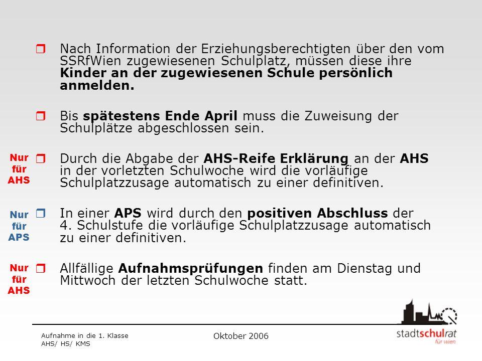 Oktober 2006 Aufnahme in die 1. Klasse AHS/ HS/ KMS Nach Information der Erziehungsberechtigten über den vom SSRfWien zugewiesenen Schulplatz, müssen